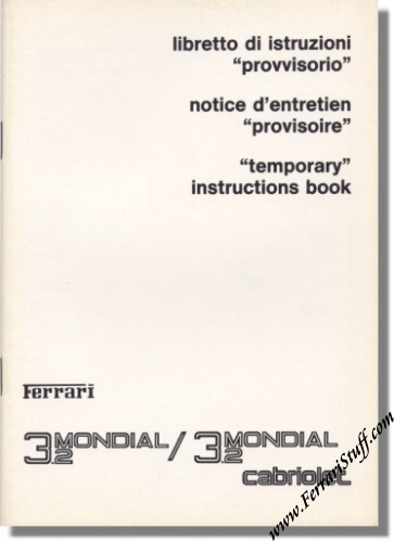 1985 ferrari mondial 3 2 and 3 2 cabriolet temporary owners manual 390 85. Black Bedroom Furniture Sets. Home Design Ideas