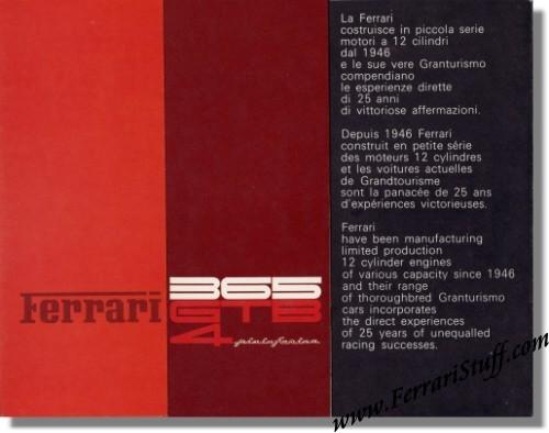 1971 Ferrari 365 GTB4 Daytona Sales Brochure 4971 Mint Condition – Sales Brochure