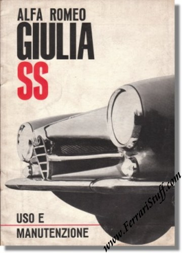 1963 alfa romeo giulia ss owners manual ar884. Black Bedroom Furniture Sets. Home Design Ideas