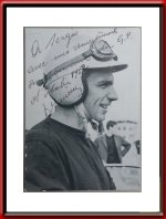 1962 Willy Mairesse Gendebien signed Ferrari Postcard